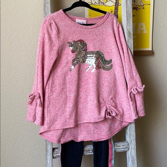 4T Little Lass Unicorn Sequins Outfit